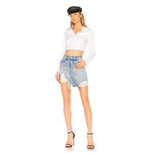 Grlfrnd Rhoda High Low Mini Skirt in Lava Bed